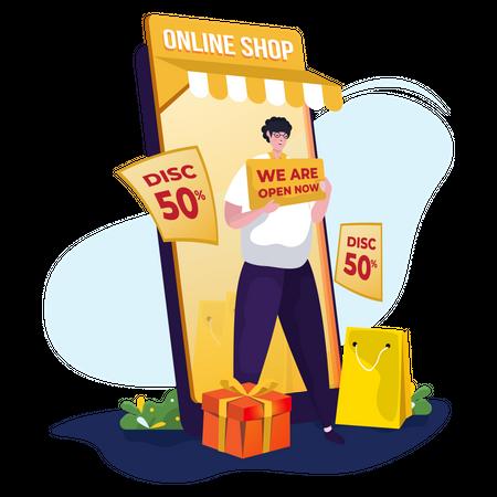 Online shop opening promotion Illustration