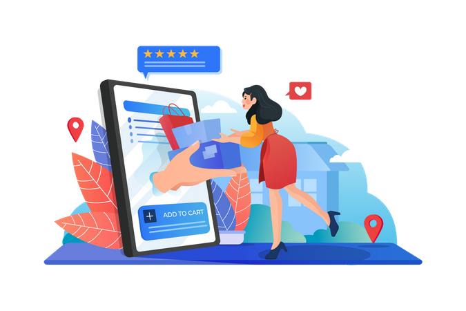 Online shopping and delivery Illustration