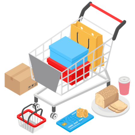 Online Shopping and Payment Illustration