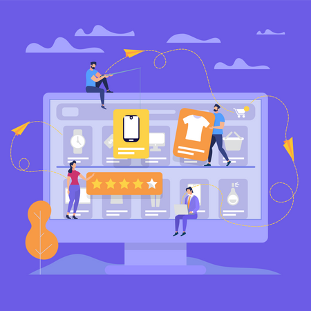 Online Shopping and product Review Illustration