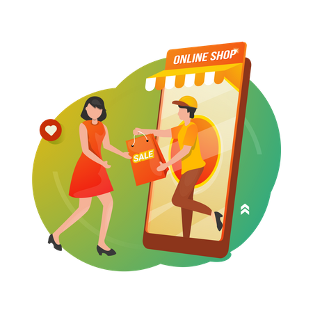 Online shopping and shipping service Illustration