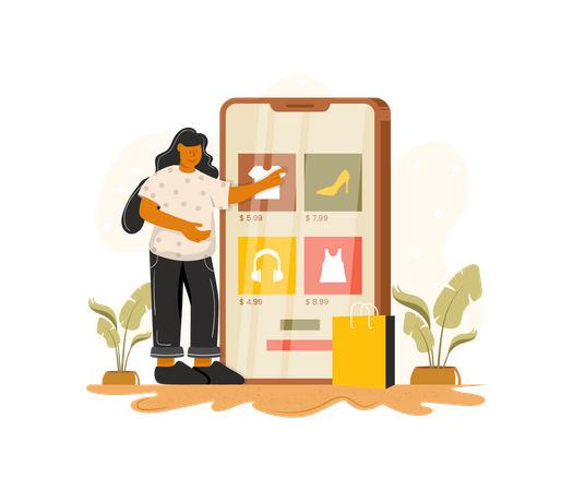 Online shopping application Illustration