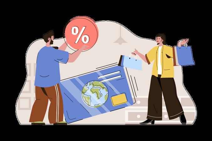 Online Shopping bill payment Illustration
