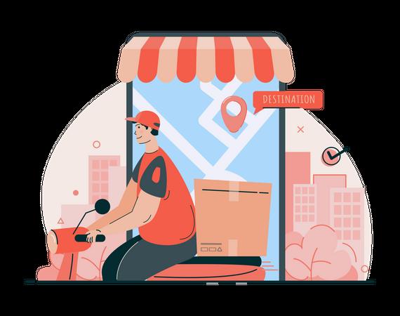 Online shopping delivery Illustration