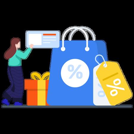 Online Shopping Discount Illustration