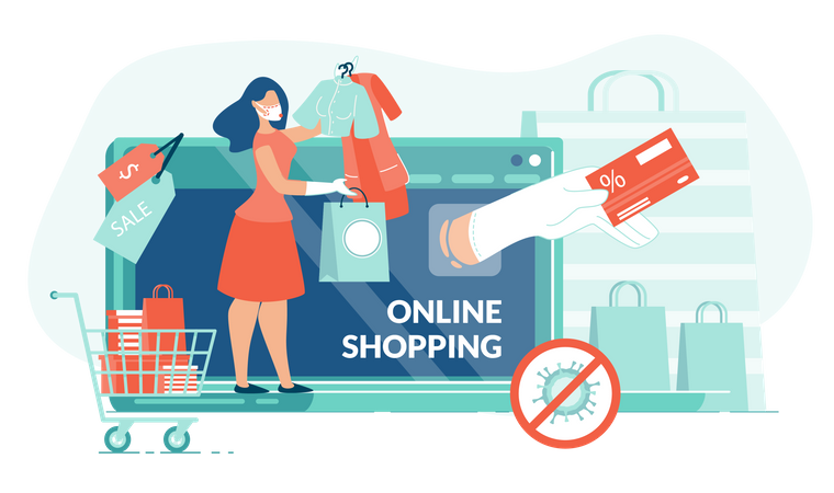 Online Shopping from Home Illustration