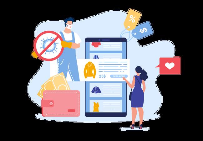 Online Shopping in Covid-19 Epidemic Illustration