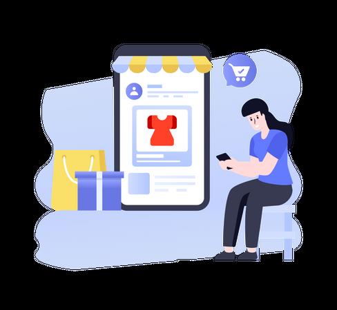 Online Shopping Order Illustration