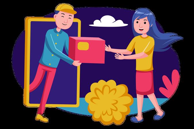 Online shopping order delivery Illustration