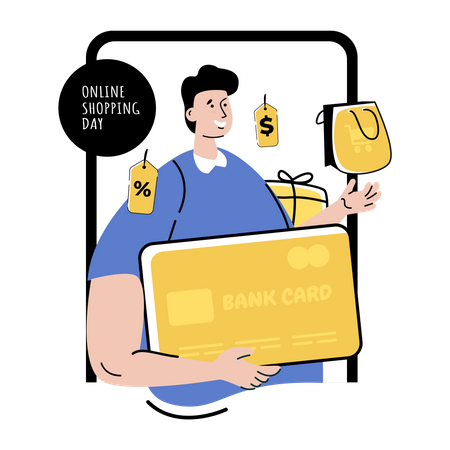 Online shopping payment Illustration