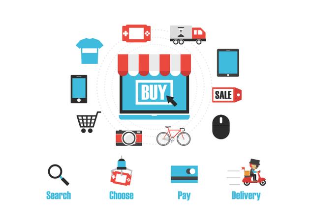 Online Shopping Process Illustration