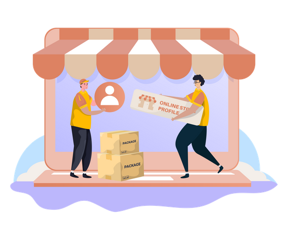 Online shopping profile Illustration