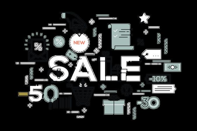 Online Shopping Sale Illustration