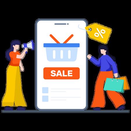 Online Shopping sale Advertisement Illustration