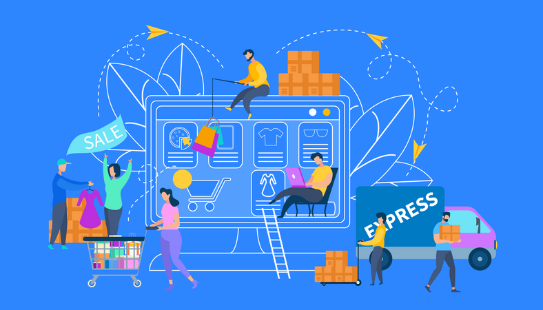 Online Shopping, Sale and Delivery Service Illustration