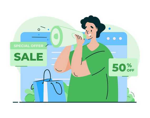 Online shopping sale offer Illustration