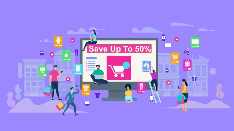 Online Shopping sale or offer Illustration