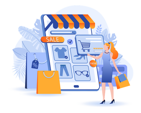 Online Shopping Scene Illustration