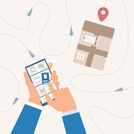 Online shopping, Tracking Delivery Status with Mobile Phone Application Illustration