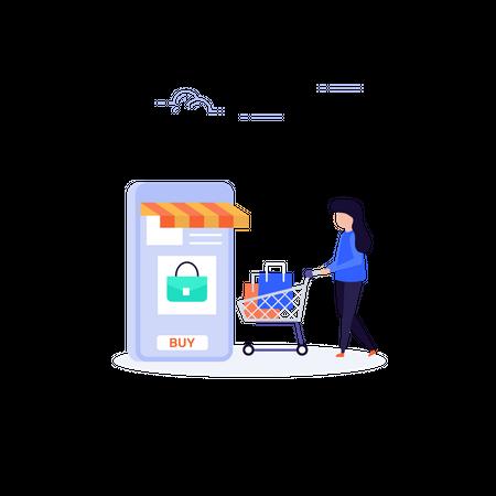 Online Shopping via mobile application Illustration