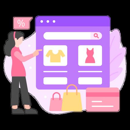 Online Shopping Website Illustration