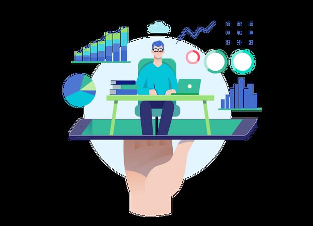 Online stock management consultant Illustration