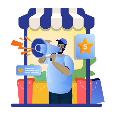 Online store need rating and review Illustration