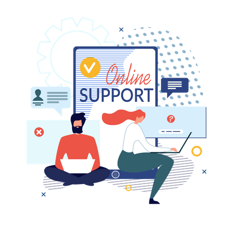 Online Support and Virtual Help Service Banner Illustration