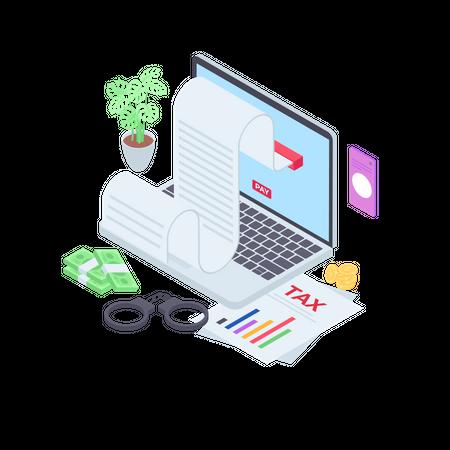Online Tax Report Illustration