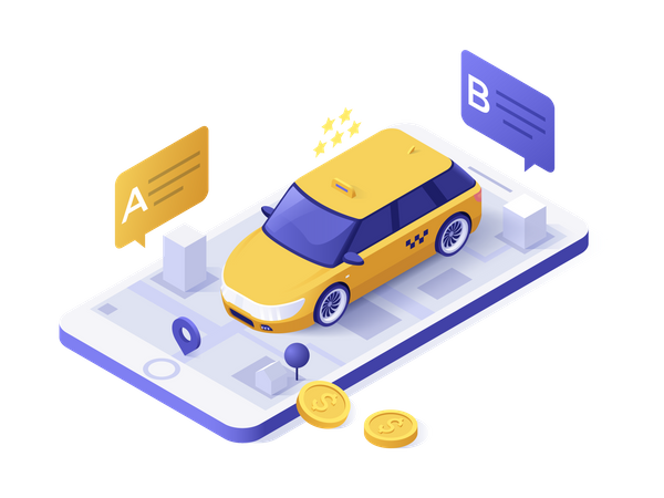 Online Taxi Booking application Illustration
