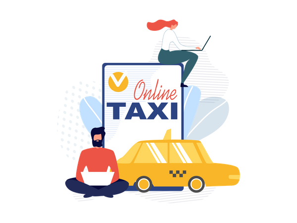 Online Taxi booking mobile application Illustration