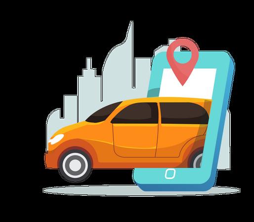 Online taxi service Illustration