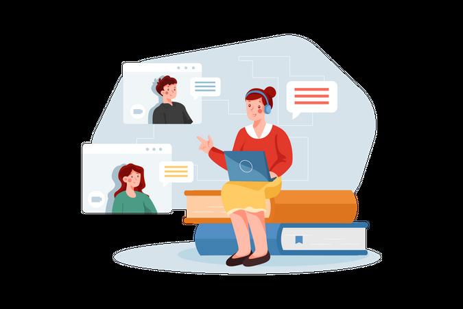 Online Teaching Illustration