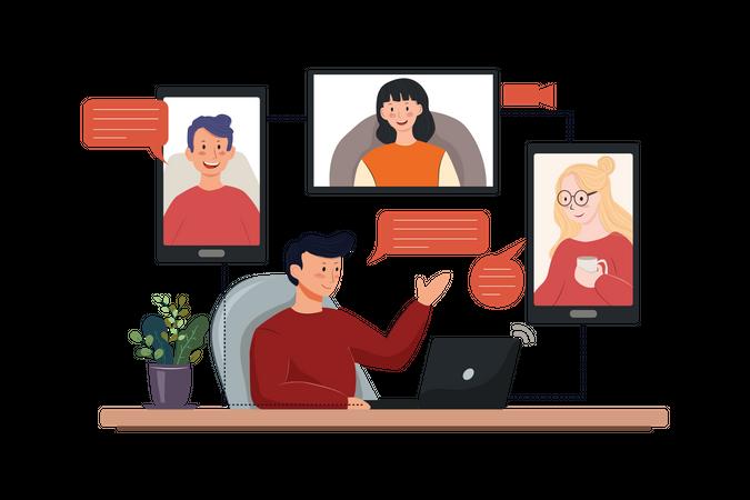 Online Team Meeting Illustration