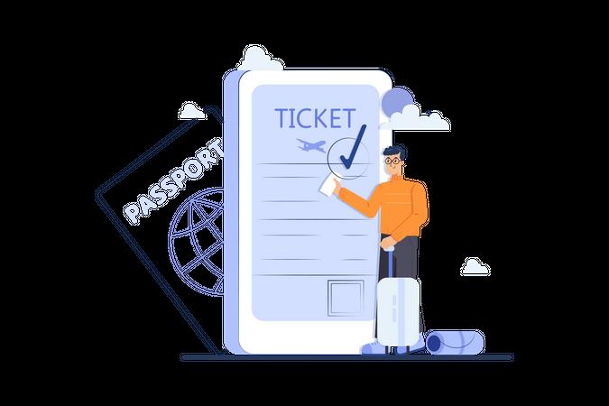 Online ticket booking Illustration