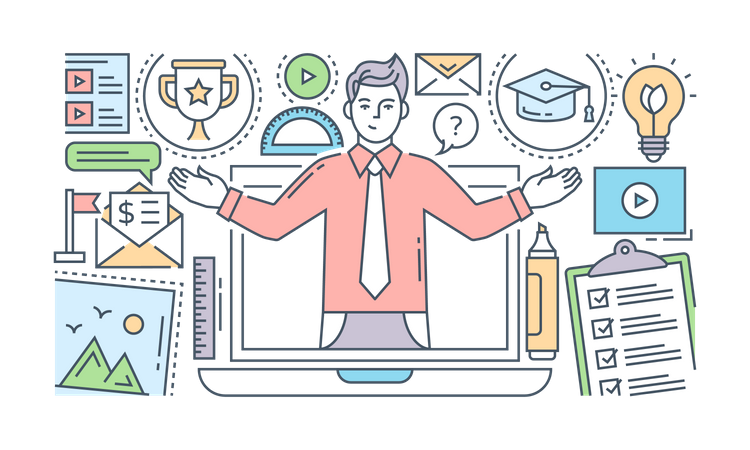 Online Training And Courses Illustration