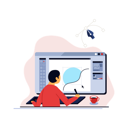 Online training course and distance learning on digital education technology Illustration