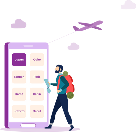 Online Travel app Illustration