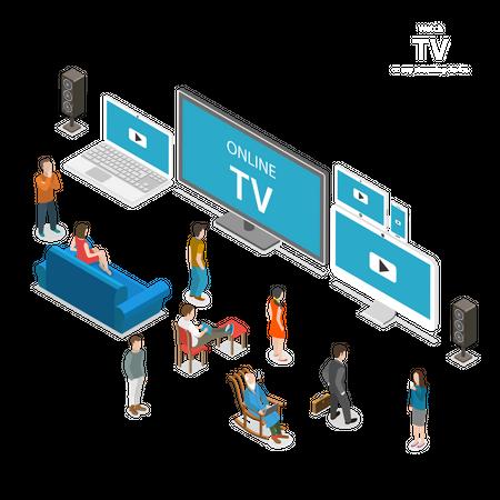 Online Tv Streaming Illustration