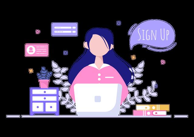 Online User Sign up Illustration