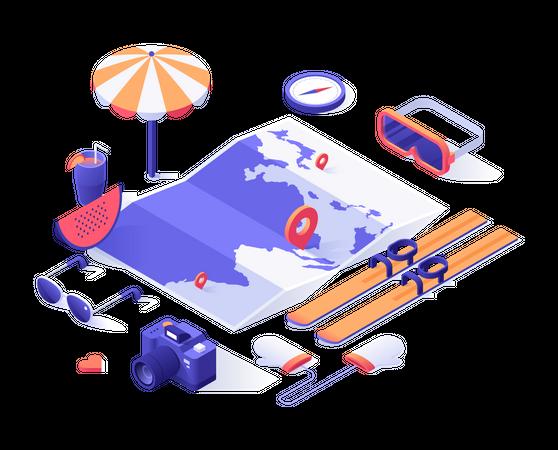 Online vacation trip planning Illustration
