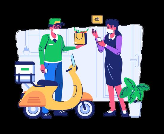 Online Vegetable Shopping Illustration