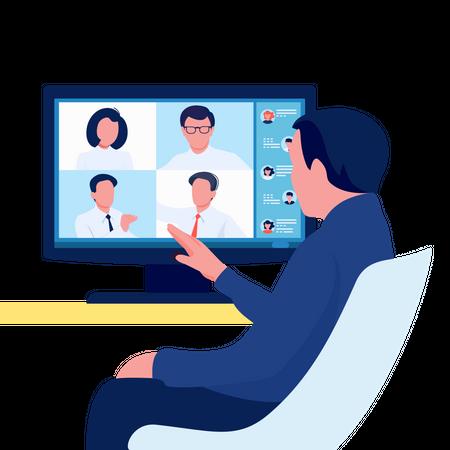 Online video conference Illustration