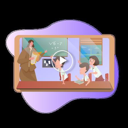Online video learnings Illustration
