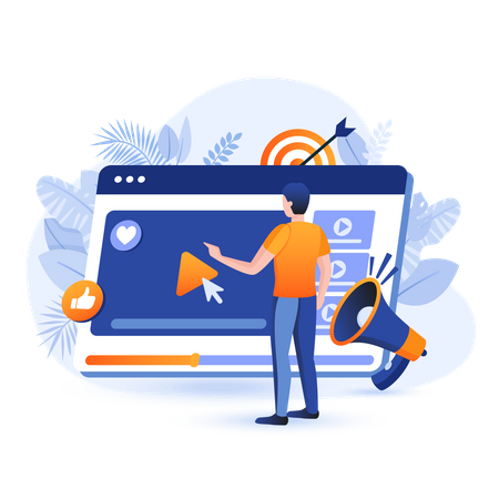 Online video marketing Illustration