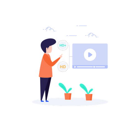 Online Video Streaming in high video quality Illustration