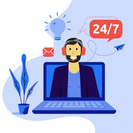 Online virtual assistant services concept Illustration