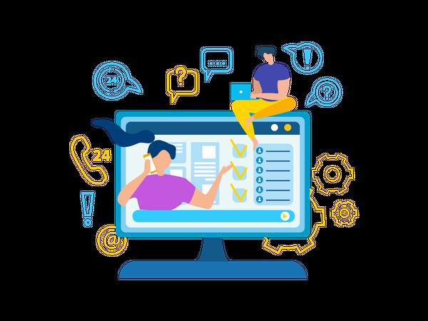 Online web support Illustration