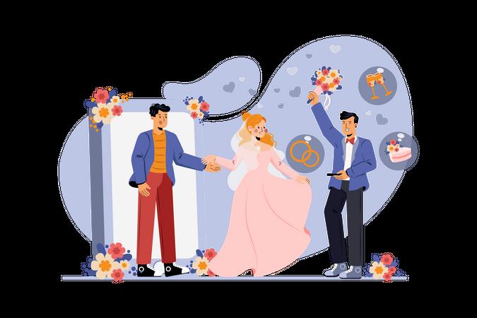 Online wedding Illustration