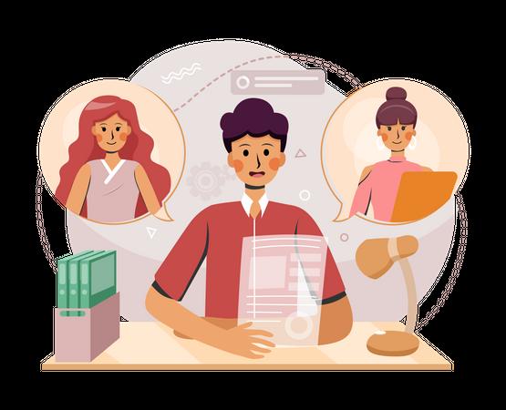 Online work distribution Illustration
